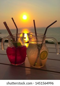 drink water juice and cocktail sea view sunset in summer holiday