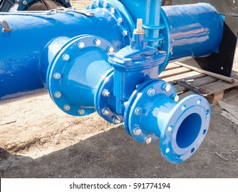 Drink water piping , Gate valves and reduction member. Pipe fittings joint with new screws and nuts. Repairing process to connect drink water supply.