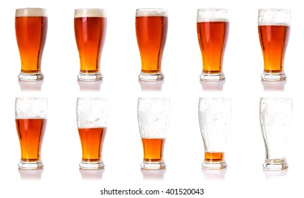 Drinking beer process concept idea. Ten steps of discharge glass of beer.