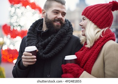 Drinking coffee during cold winter