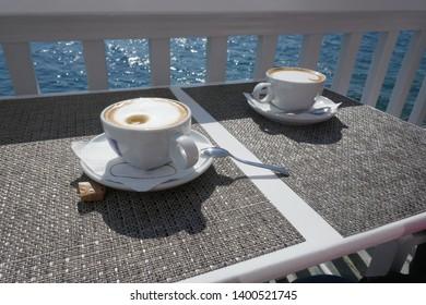 drinking coffee at the Mediterranean