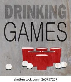 drinking games design on wood grain texture