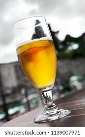 Drinking a glass of beer in a bistro