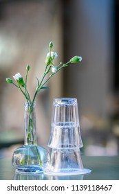 Drinking glasses and a green flower on a outdoor table. Still life with shallow depth of field.