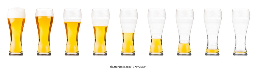 Drinking sequence of beer glasses isolated on white.