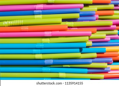 drinking straws closeup, colorful plastic straw macro
