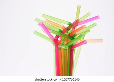 Drinking Straws on White Background