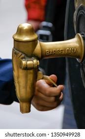 drinking tap c inscription Barcelona street La Rambla