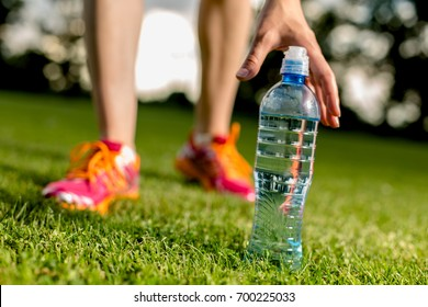 Drinking water after training, running concept