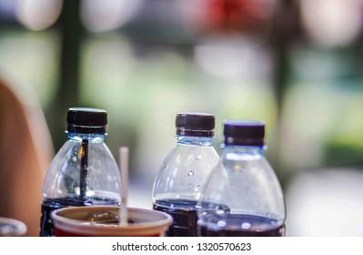 Drinking water bottle blurred background