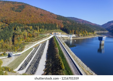 Drinking water reservoir. Sance Recice Dam in the Beskydy Mountains, near Ostrava in the Czech Republic.