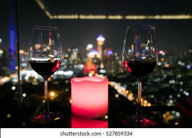 Drinking wine at night in Bangkok