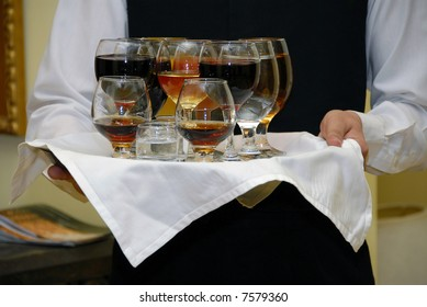 drinks in an assortment on a tray