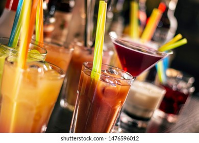 drinks and coktails on wooden table
