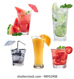Drinks collection over white