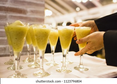 Drinks during a wedding in glass cups with ice
