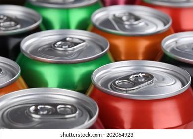 Drinks like cola, beer and lemonade in cans