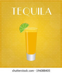 Drinks List Tequila with Golden Background