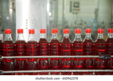 Drinks in plastic bottles in the factory