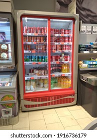 Drinks in vertical freezer at supermarket in Bucharest, Romania, 2021