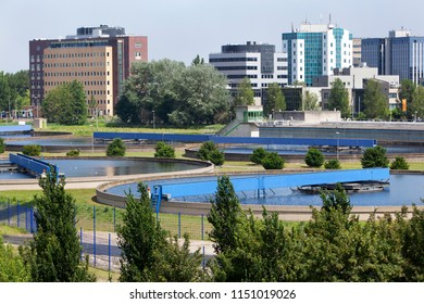 Drinkwater purification plant with office buildings in the background in Capelle aan den IJssel in the Netherlands