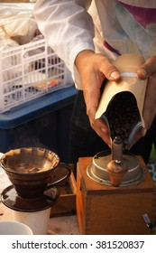 drip coffee with bean in market