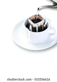 Drip coffee cup isolate on white background, Pour Over Filter coffee