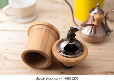 Drip coffee set for make coffee drip. On wood background.