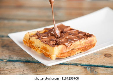 Dripping chocolate spread waffle pancake chocolate snack