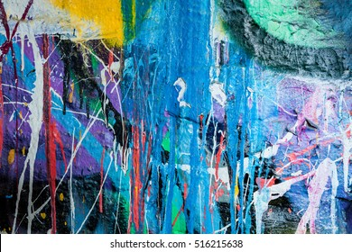 Dripping paint graffiti wall background