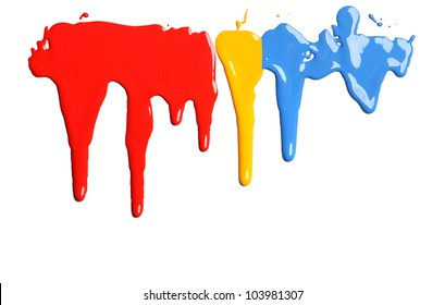 Dripping Paint in primary colors on a white background