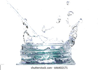 Dripping water on the bottle mouth on white