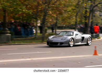 Drive with dream speed car in autumn roads