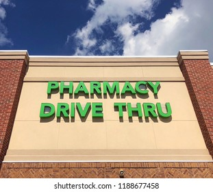 Drive through pharmacy sign.