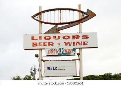 Drive Through, (Thru) Liquor store in rural Texas, United States