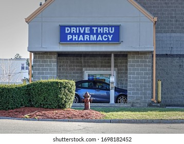 Drive Thru Pharmacy prescription pick up window, Revere Massachusetts USA, March 31, 2020