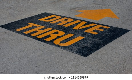 Drive thru yellow letter in the road