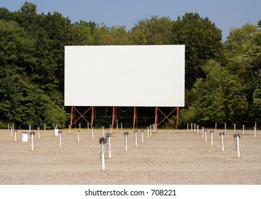 Drive-in Movie Theater – Drive-in movie theater screen and speakers. Put your message on the screen!