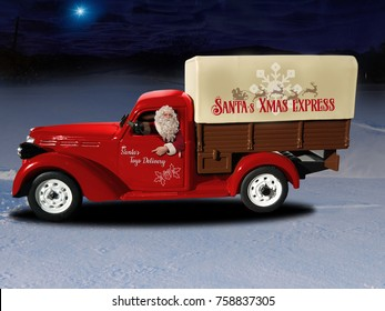 Driven by the star, Santa is driving his brand new red toy truck through the snow in a magic christmas night.