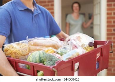 Driver Delivering Online Grocery Order