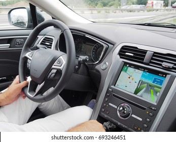 Driver driving with navigation