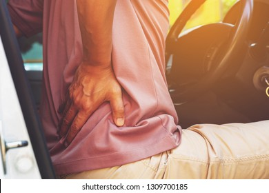 driver  having back pain . health concept