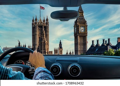 Driver in London watching Big Ben. Tourist in london