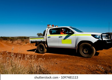 Driver in Off Road Outback Track
