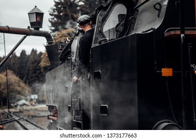 Driver of an old steam locomotive