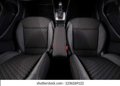 Driver and passenger car front seats top view. Clean new black car interior.