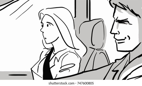 A driver and a passenger in a car, Male driver and female passenger black and white sketch. Man and woman go in the car. Simple drawing.