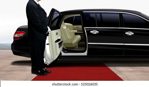 Driver waiting and standing next to the black limousine on a red carpet