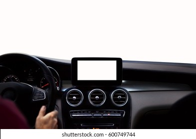 Drivers hands on steering wheel isolated on white background. Modern navigation device on center of car control panel with isolated display