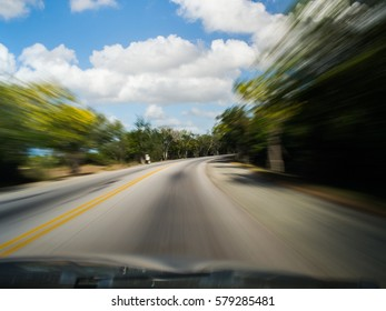 Driver's Point of View Motion Blurred on Country Road